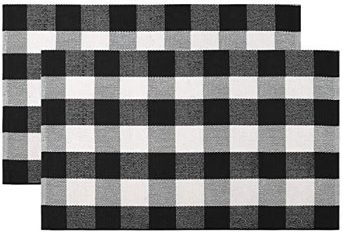 100 Cotton Buffalo Plaid Rug Set 2 Piece 24 x 35 , KIMODE Black White Hand-Woven Checkered Welcome Door Mat, Washable Floor Rugs for Porch Kitchen Bathroom Laundry Living Room Braided Throw Mat