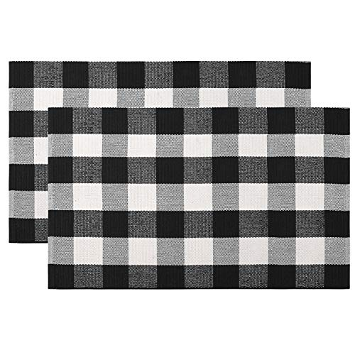 100% Cotton Buffalo Plaid Rug Set 2 Piece 24'' x 35'', KIMODE Black/White Hand-Woven Checkered Welcome Door Mat, Washable Floor Rugs for Porch Kitchen Bathroom Laundry Living Room Braided Throw Mat