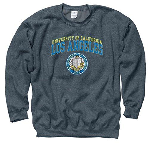 Shop College Wear UCLA Double Arch Men's Crew-Neck sweatshirt-Charcoal Double Arch Crew Sweatshirt