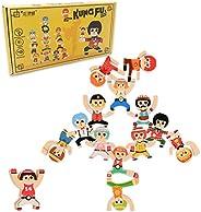 3KTimes Wooden Stacking Balancing Blocks Board Games, Stackle Colorful Kung Fu Boy Interlock Educational Timbe