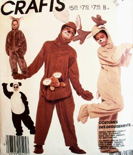 Rare, OOP McCall's Costume Pattern 3351. Childrens Sz 6/8 Panda Bear; Kangaroo; Reinder & Koala ()