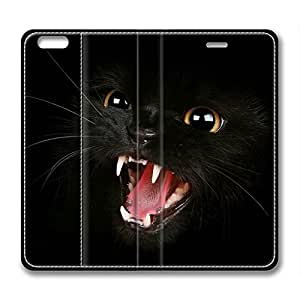 Black Cat DIY Leather iphone 6 plus Case Perfect By Custom Service