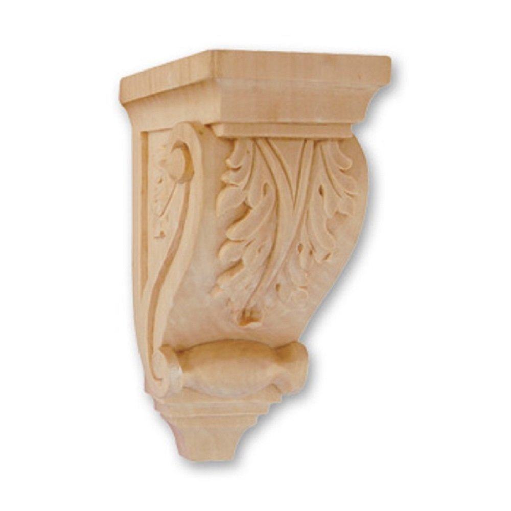 Hand Carved Solid Wood Acanthus Corbel Onlay Moulding CW418 7H X 3-3//16W X 4D