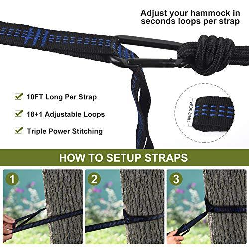 SANSUNTEK Camping Hammock, Hammock with Tree Straps, Portable Travel Double & Single Hammock for Tree, Lightweight Nylon Parachute Hammock for Outside Camping,Hiking,Backpacking