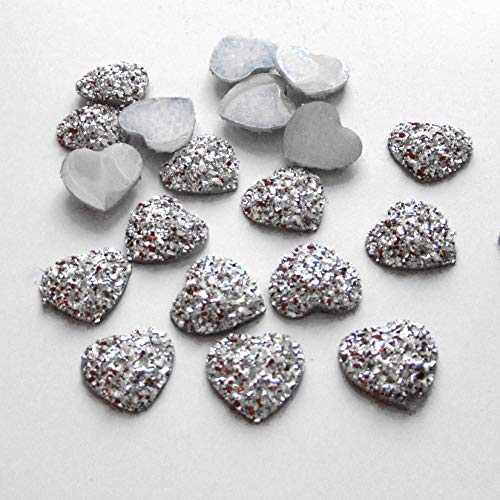 FunnyCraft Diy 80Pcs 12Mm Silver Ab Resin Bling Sweet Heart Flatback Scrapbooking For Phone/Wedding Scrapbooking -