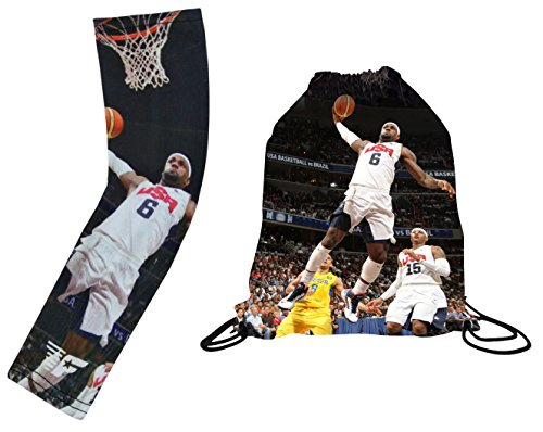 Forever Fanatics USA James #6 Basketball Gift Set ✓ USA James Picture Drawstring Backpack Gym Bag & Matching Picture Compression Shooter Arm Sleeve (Youth Size (6-13 Years), USA James Gift - Usa Shooter The