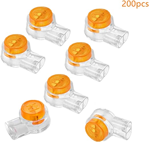 200Pcs plastic K1 2 ports gel splice UY wire connector clear ora SE
