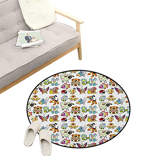 Nursery Kids Round Rug ,Collection of Cartoon Animals Adorable Funny Toy Figures Play Time Childhood Theme, Sofa Living Room Bedroom Modern Home Decor 31