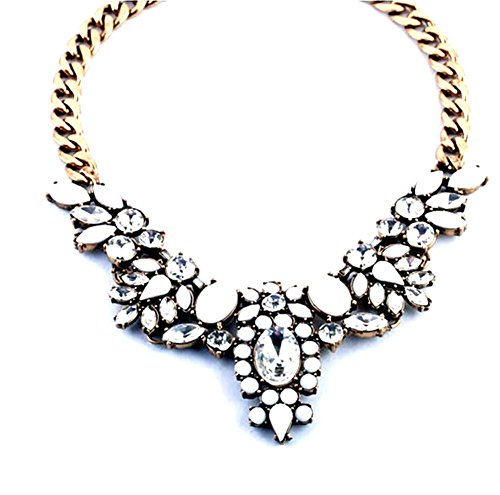 Pure Ziva White Enamel & Clear Crystal CZ Pendant Bib Collar Necklace, Yellow Gold Tone Cuban Chain Link