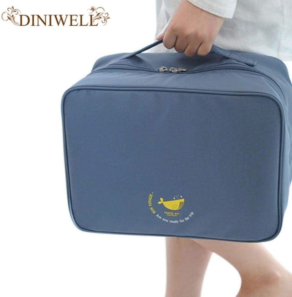 BiBaBoMax Portable Waterproof Nylon Travel Luggage Storage Suitcase Bag Tiered Packing Cubes Clothes Underwear Organiser Handbag Grey
