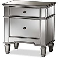 Baxton Studio Sussie Mirrored 2 Drawer Nightstand in Silver