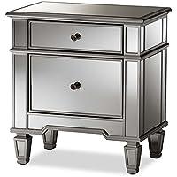 Baxton Studio Sussie Mirrored 2 Drawer Nightstand in Silver