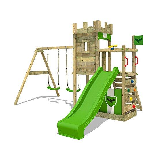 51TXXmPpbpL. SS500 FATMOOSE Torre de escalada con columpio y plataforma de juego grande - Calidad-y- seguridad verificadas Madera maciza impregnada en clave, de fácil mantenimiento - Viga de columpio de 9x9cm y postes verticales de 7x7cm Instrucciones de montaje detalladas para un montaje fácil - 10 años de garantía* para todos los elementos de madera