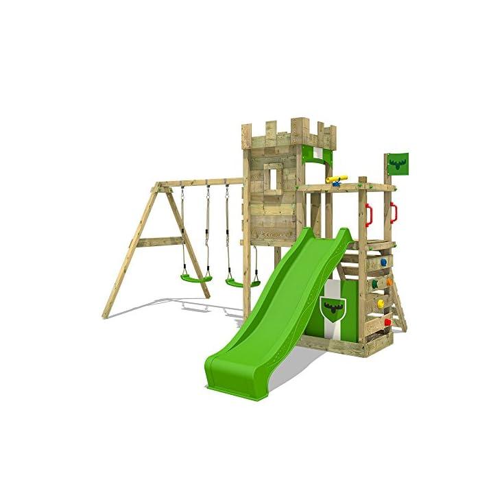 51TXXmPpbpL FATMOOSE Torre de escalada con columpio y plataforma de juego grande - Calidad-y- seguridad verificadas Madera maciza impregnada en clave, de fácil mantenimiento - Viga de columpio de 9x9cm y postes verticales de 7x7cm Instrucciones de montaje detalladas para un montaje fácil - 10 años de garantía* para todos los elementos de madera