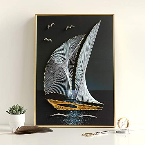 DIY Thread Winding Three-Dimensional Sailing Decoration Painting, Home Wall Decoration Painting DIY Material Package, Parent-Child Manual Interactive Game by Home Decoration (Image #2)