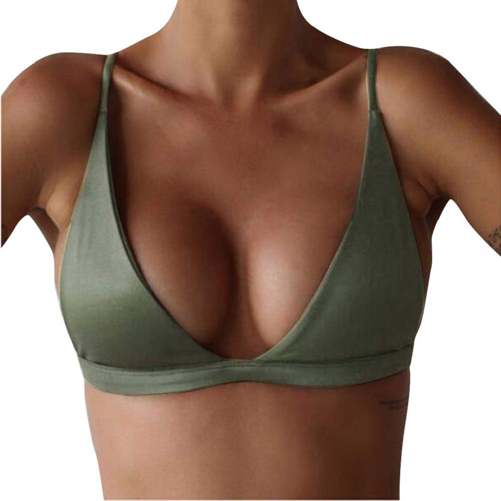 Photno Push Up Bikini Swimsuit for Women V Neck Tankini Swimwear Swim Top No Bottom Bathing Suit Army Green