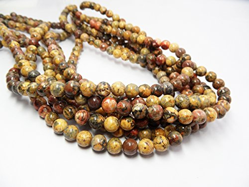 TheTasteJewelry 6mm Round Yellow Leopardskin Jasper Beads 15 inches 38cm Jewelry Making Necklace Healing