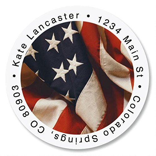 USA Patriotic Flag Round Return Address Labels - Set of 144, 1-1/2 diameter Self-Adhesive, Flat-Sheet labels, Patriotic Address Labels