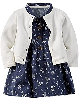 Baby Girls' 2 Piece Sateen Shirt Dress Sweater Set - 12 Months