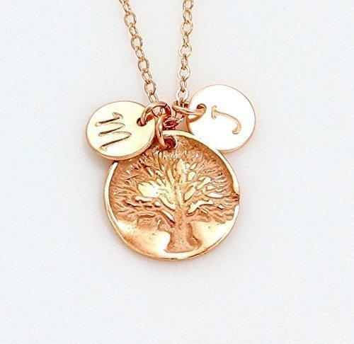 Amazon gold silver or rose gold family tree necklace with or gold silver or rose gold family tree necklace with or without personalized circle round disc aloadofball Choice Image