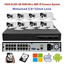 NightKing 4Megapixel IP Security Camera System, 1Pcs 16CH 4K H.265 NVR,16 X RJ45 POE Port, 8Pcs 4MP Motorized Lens Network IP Bullet Camera,1Pcs 4TB HDD Installed,8 X 100Ft Cat5 Cable,Free App View