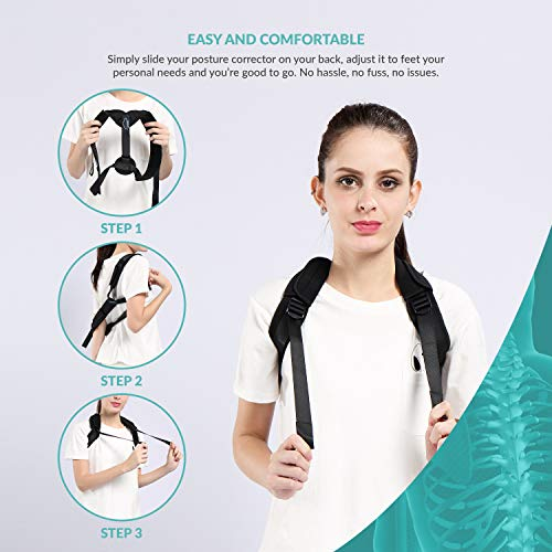 "Modvel Breathable Posture Corrector for Men & Women | Adjustable (25""-45"") Back Support Posture Brace 