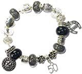 50th Birthday Good Luck Lucky Black Silver Pandora Style Bracelet With Charms Gift Box Jewelry
