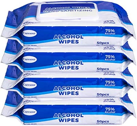 Caresour Advanced 75% Alcohol Sanitizing Wipes 4 Packs of 50 (200 Wipes)