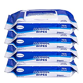 Caresour Advanced 75% Alcohol Sanitizing Wipes, 4 Packs of 50 (200 Wipes)
