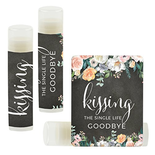 Andaz Press Bridal Shower Bachelorette Party Lip Balm Party Favors, Peach Chalkboard Floral Garden Party, Kissing The Single Life Goodbye, 12-Pack]()