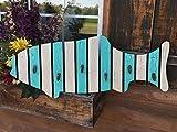Coatrack FISH with metal hooks Shaped Fish Coat Towel Rack Nautical Lake Beach Ocean Sea Wood Wall Home Decor Caribbean Bright BLUE White 32