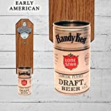 Unique GIft Wall Mounted Bottle Opener with Vintage Lone Star Handy Keg Texas Beer Can Cap Catcher
