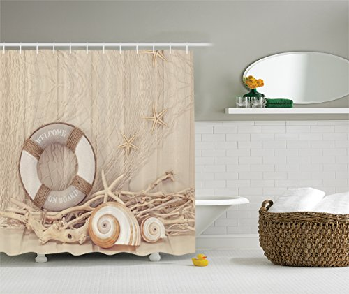 Nautical Shower Curtain Coastal Decor by Ambesonne, Welcome on Board Buoy Wooden Sepia Fishnet Pattern, Polyester Fabric Bathroom Shower Curtain Set with Hooks, 75 Inches Long, Tan Linen Ecru Beige (Fishnet Drape)