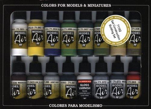 Vallejo Building Set Model Air Paint, 17ml (Pack of 16)