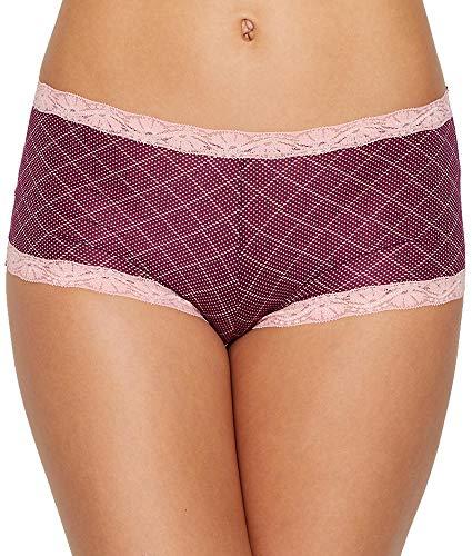 Dot Boyshorts Panties - Maidenform Women's Microfiber and Lace Boyshort, Diamond dot Print/Galactic red, 7