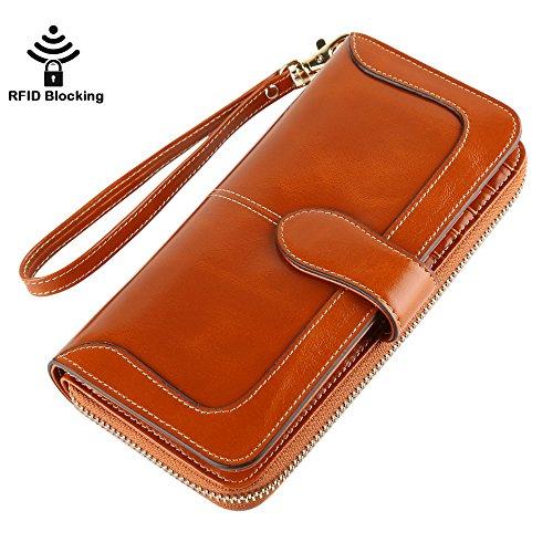 Women's RFID Blocking Genuine Leather Wallet Ladies Zipper Wristlet Clutch (Brown Tan)