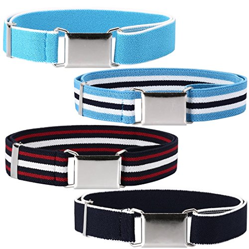 - Ava & Kings 4 Pack Childrens Boys Mixed Design 1 Inch Adjustable Elastic Easy Belts - Quick Buckle Clasp w/Soft, Comfortable, Stretchy Waistband for Kids Toddlers Baby - Set 4: Blue Tone Stripes