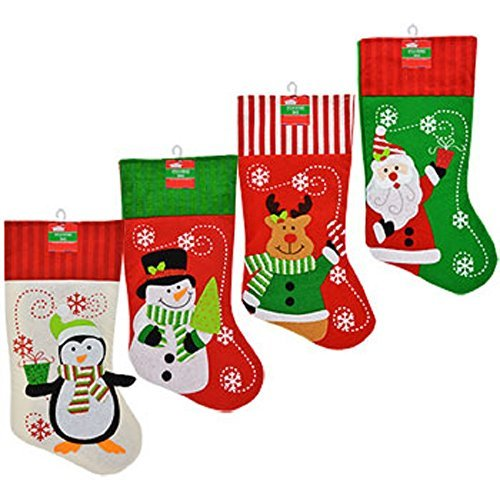 Set of 4 Pack: Christmas House Polyester Christmas Character Stockings with Striped Cuffs, 18 ()