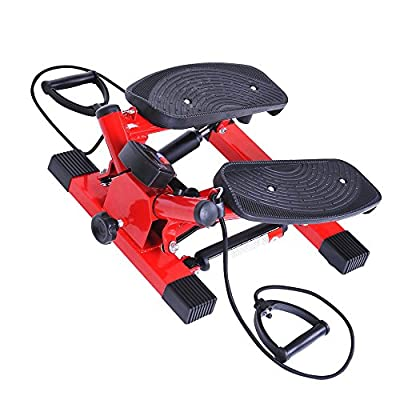 Tenive Aerobic Mini Twist Stepper - Workout Stepping Machine with Resistance Bands - This Step Exercise Machine Will Help Your Workout Routine - Red