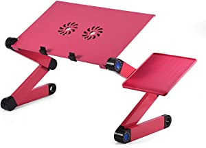 Adjustable Laptop Stand, Portable Foldable Aluminum Laptop Table Riser Stand Up/Sitting Desk with 2 Large Cooling Fans, Mouse Pad and USB Cord for Bed Sofa Couch Writing Reading Studying (Rose Red)