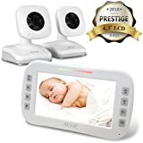 """AXVUE E612 Video Baby Monitor with 4.3"""" LCD Screen and Two Cameras, Night Vision, 800 ft. Distance and 8H Battery Life, Auto-Scan, Two Way Talk, View Angle Adj, Power-Saving Video ON/Off"""