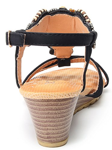ODEMA Women Summer Bohemian Gemstone Slingback Wedge Sandals Black#2 sjvjQ