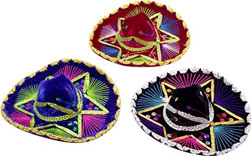 Charro Sombrero (8 inch Mexican Decorative Small Charro Sombrero, Small Mariachi hat - Set of 3 (8