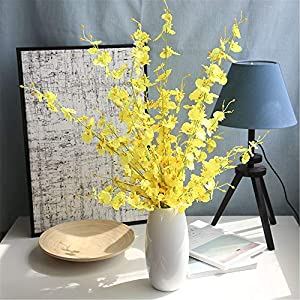 Wootkey 6 Pcs 30″ Long Jasmine Artificial Flowers Faux Berries Fake Flower for Christmas New Year DIY Floral Art Plant Home Office Party Decoration (Dancing Lady Orchid Yellow)