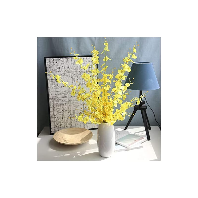 """silk flower arrangements wootkey 6 pcs 30"""" long jasmine artificial flowers faux berries fake flower for christmas new year diy floral art plant home office party decoration (dancing lady orchid yellow)"""