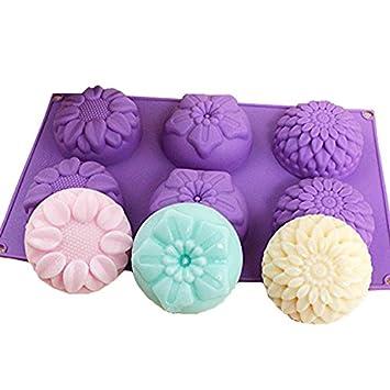 e2o Home Seife Formen Silikon 6 verschiedene Blumen Formen für selbstgemachten Seife