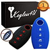Nissan Sentra Alarm Systems - 2Pcs Keyless4U 4 Buttons Key Fob Silicone Remote Cover Case Protector Jacket for Nissan Altima Maxima Armada Murano Gt-r Sentra Rogue Pathfinder (Black Blue)