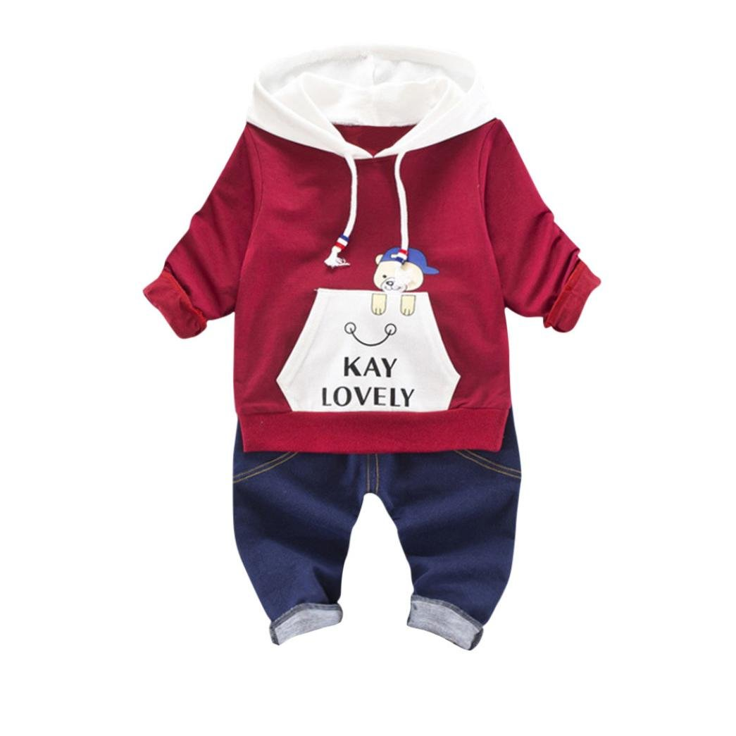 Baby Winter Coat, Egmy Cute 2PCS Infant Toddler Kids Baby Boys Girls Hooded Tops +Pants Outfits Clothes Set (12M, Wine)