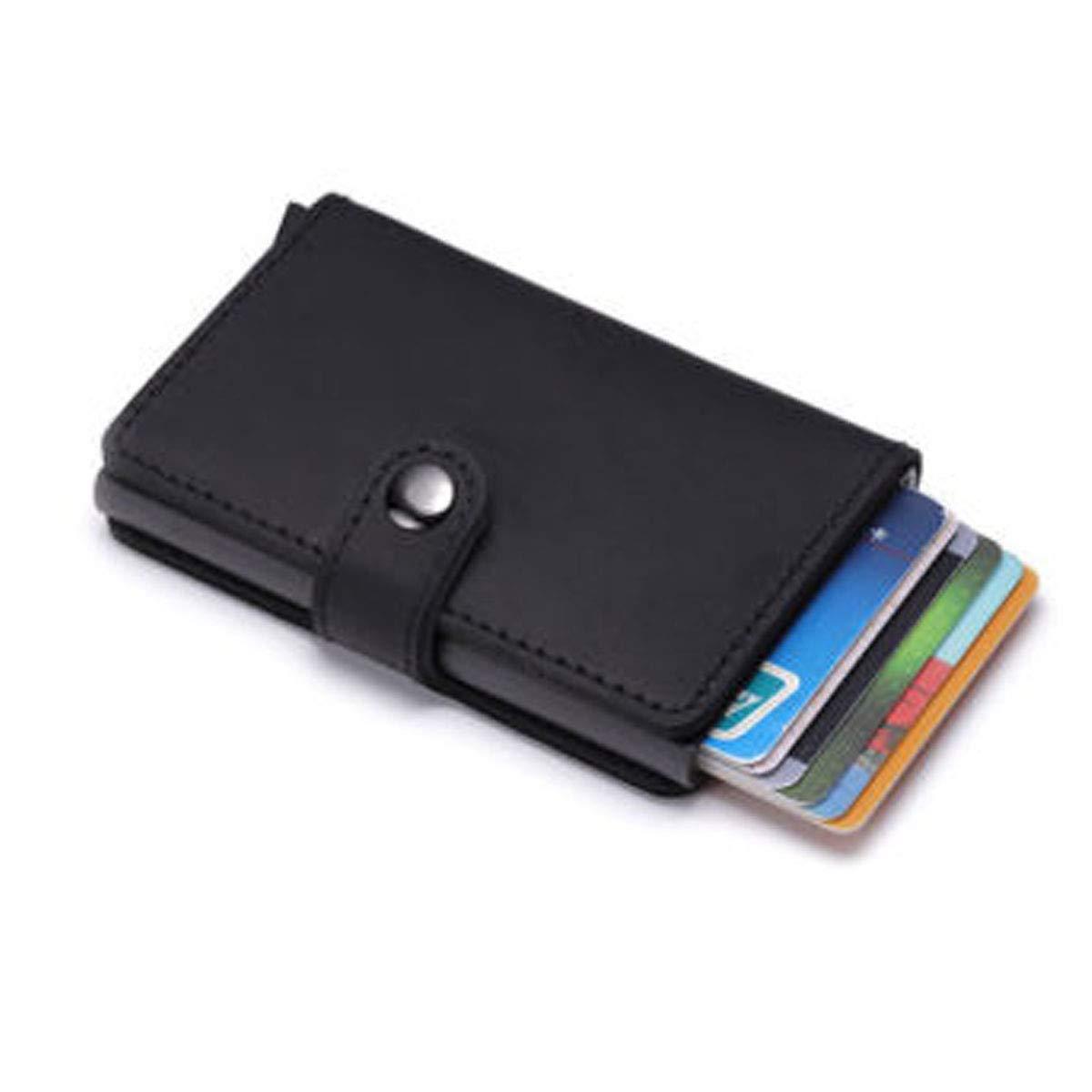 L0948 Porte Cartes de Credit Simili Cuir Mini Porte Monnaie S/écuris/é Automatique Pop-up en Aluminium Marron LIVAN/®