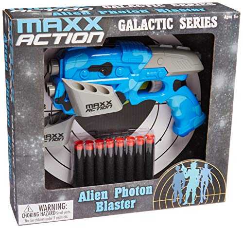 Maxx Action Galactic Series Alien Photon Blaster Toy Dart Gun with Galactic Photon Blaster Sounds, 8 Suction Cup Foam Darts and Alien Wall Target: Compatible with all NERF Darts ()